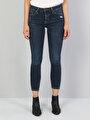 759 Lara Orta Bel Dar Paça Super Slim Fit Koyu Mavi Kadın Jean Pantolon