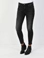 759 Lara Orta Bel Dar Paça Super Slim Fit Gri Kadın Jean Pantolon