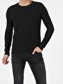 Slim Fit Bisiklet Yaka Erkek Siyah Tshirt U.Kol