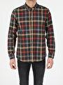 Regular Fit Shirt Neck Erkek Haki Uzun Kol Gömlek