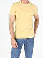 Regular Fit Bisiklet Yaka Erkek Sarı Kısa Kol Tişört