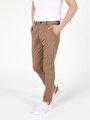 Slim Fit Orta Bel Düz Paça  Erkek Gri Pantolon