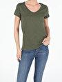 Regular Fit V Yaka Örme Kadın Haki Kısa Kol Tişört