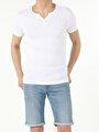 Slim Fit Placket Neck Erkek Beyaz Kısa Kol Tişört