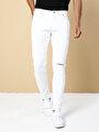 Slim Fit  Erkek Beyaz Pantolon