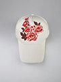 Çiçek Baskılı Beyaz Kadın Şapka